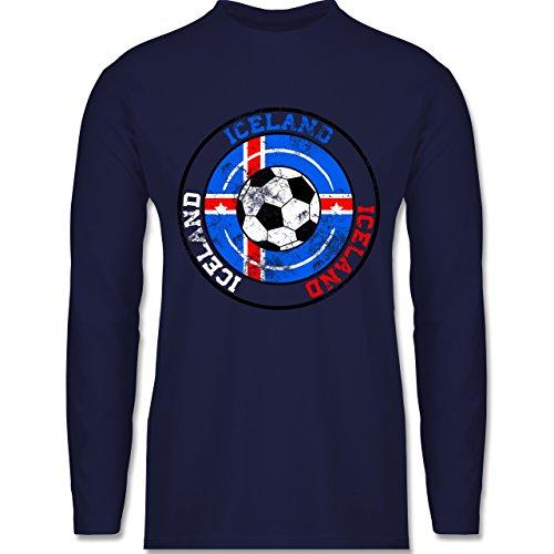 EM 2016 - Frankreich - Iceland Kreis & Fußball Vintage - Longsleeve / langärmeliges T-Shirt für Herren Navy Blau