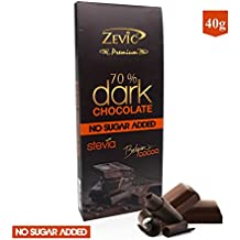 Zevic 70% Belgian Cocoa Dark Chocolate with Stevia - 40 Grams