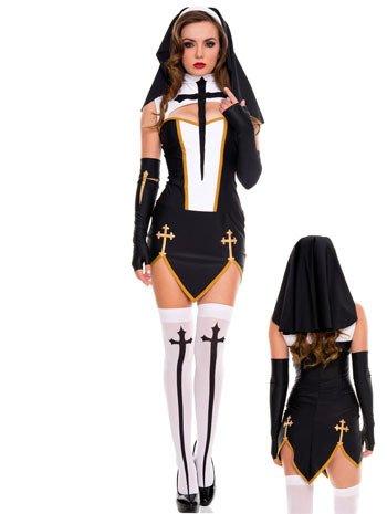 Mengjie Halloween Kostüm Party Spiel Rollenspiele Nonnen Uniform, schwarz, f