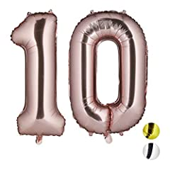 Idea Regalo - Relaxdays Palloncini Giganti in Foil con Numero 10 per Compleanni con Cifre, ad Aria e ad Elio, Pellicola, Oro Rosa, H x B x T: ca. 85 x 50 x 17 cm