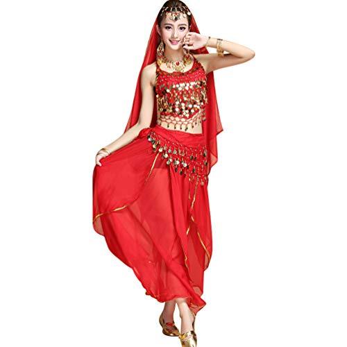 TianBin Damen Top Bra Lange Maxirock mit Volant Tanzrock Tanzkostüm Bauchtanz-Kostüm (Rot#4, One Size)