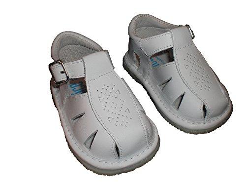 Sandales pour bébé avec semelle fine, souple et antidérapant. Chaussures faits en Espagne en cuir. Blanc