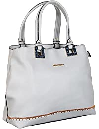 Abrazo Fashionable White Color Hand Bag For Women's In Good PU Material