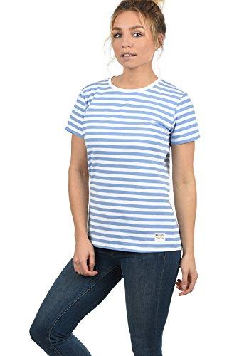 DESIRES Maya Damen T-Shirt Kurzarm Streifenshirt Shirt Mit Rundhalsausschnitt, Größe:L, Farbe:Sky Blue (1025)