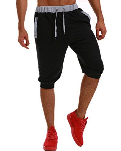 MODCHOK Homme Shorts Bermuda Pantacourt Jogging Sport Poches Casual Taille Élastique Noir 3XL