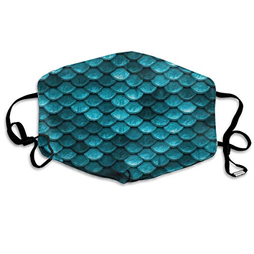 Comfort Earloop Face Masks, Dustproof Anti Germs Bacteria Virus Smog Mouth-Muffle with Adjustable Elastic Band - Windproof Beautiful Marine Blue Teal Mermaid Fish Scales Half Face Mouth Mask