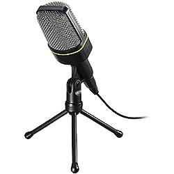 GuDoQi Microphone À Condensateur Filaire Professionnel Jack 3.5mm USB Microphone PC Avec Trépied Pour Skype Chatter Chanter Karaoké Ordinateur Portable Studio Podcast