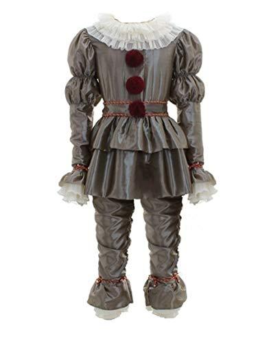 Wellgift Pennywise Kostüm Cosplay Erwachsene Herren Horror Clown Outfit Mantel mit Hosen Ganzanzug Halloween Verkleiden Merchandise Kleidung