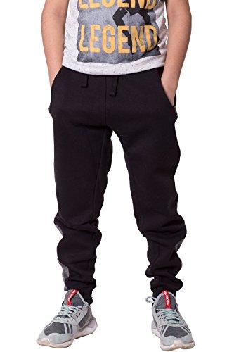 8 Kinder Hose Trainingshose (Jungen Kinder Knöchel Kontrast Streifen Vlies Hose Trainingshose jogginghose (7-8 Jahre, Schwarz))