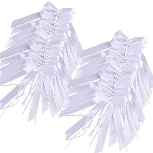 100 Piezas Lazos De Satén Cinta Tul Blanco Decoracion