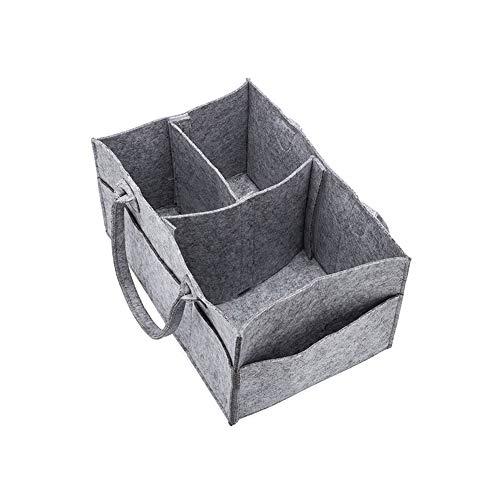 Xiton 1PC Baby-Windel-Organisator Baby-Windel-Caddy Organizing Felt Basket Tragbare Nursery Vorratsbehälter beweglicher Halter-Beutel für Wicke und Auto Nursery Essentials (Gray)