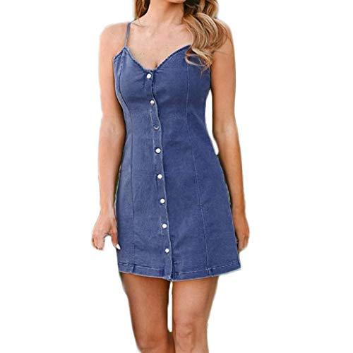 Go First Frauen Casual Daily Sommerkleider Sommer Sling Denim Kleid Slim Button Dekoration Minikleid (Color : Blau, Size : S) (Frauen Denim-kleid Der)
