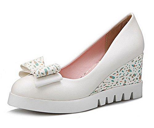 VogueZone009 Femme Rond à Talon Haut Matière Mélangee Couleur Unie Tire Chaussures Légeres Blanc