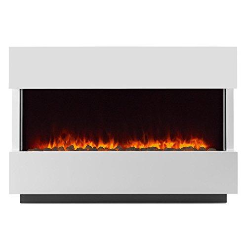 Klarstein Studio-1 • elektrischer Kamin • E-Kamin • Kaminofen • LED-Flammensimulation • große Front • MDF-Holz • 750 und 1500 W Leistung • Heizlüfter für 40 m² • Fernbedienung • Flammeneffekt steuerbar • Glasseitenteile und Kohlebett • weiß - 3