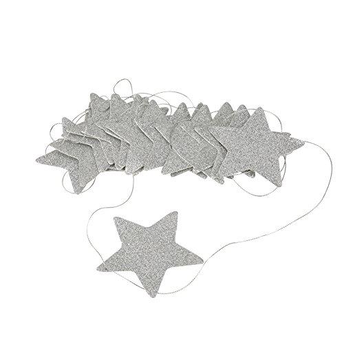 Zerodis Hängende Sterne Girlande Funkelnd Bunting Banner Dekorationen für Weihnachten Hochzeit Geburtstag Baby Shower Party Kinderzimmer Wand Fenster(Silber)