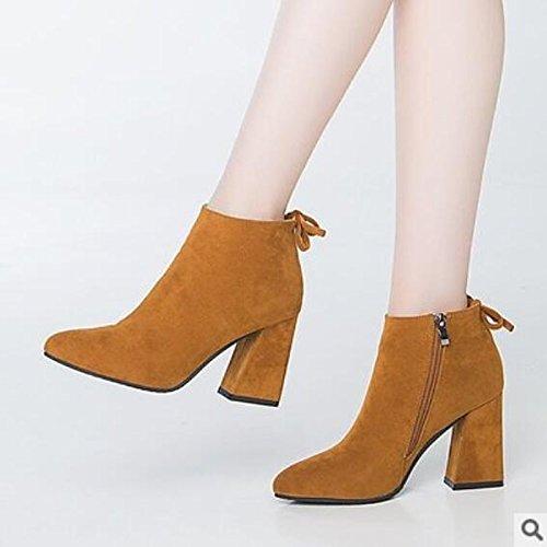 Chaussures Hsxz Femme Pu Printemps Automne Bottes Confort Chaussures De Marche Chunky Talon Fermé Toe Chaussons / Bottillons Vêtements Décontractés Amande Vin Black Brown Amande