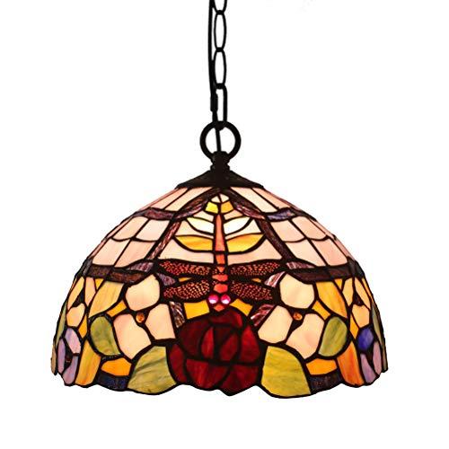 FABAKIRA 12 Zoll Tiffany Lampen Vintage Stil Kornleuchte Stained Fein Glas Metall Lampeschirm Esszimmer Pendelleuchte Dunkel Warm Dekorative Hängelampe -