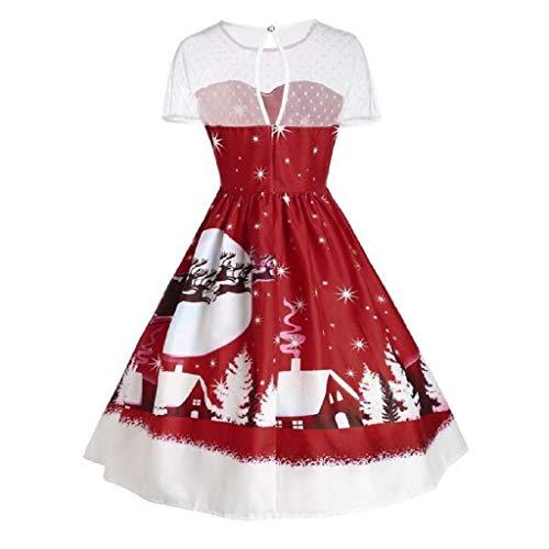 Luckycat Damen Vintage Weihnachten O Neck Bedruckt Kurzarm A Line Swing Dress Abendkleider Cocktailkleid Partykleider Blusenkleid Mode 2018