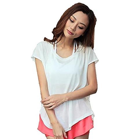 Wgwioo Womens / Ladies Sports T-Shirt À Manches Courtes À Coupe Rapide À Manches Courtes Shirring Shirring Blusa Basic Jersey À Manches Longues . White . L