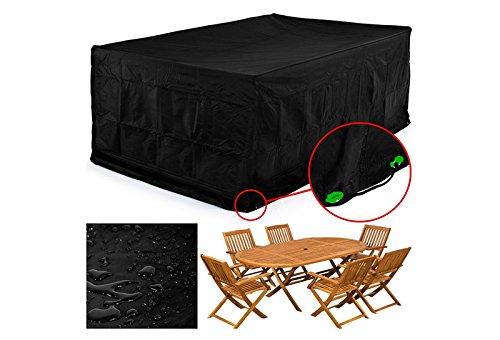 Femor Abdeckung Gartenmöbel, Schutzhülle Gartenmöbel und Abdeckplane für rechteckige Sitzgarnituren, Gartentische und Möbelsets (250*200*80cm)