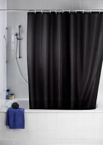 Wenko 20043100 Rideau de Douche en Textile Noir Anti Moisissure 180x200 cm