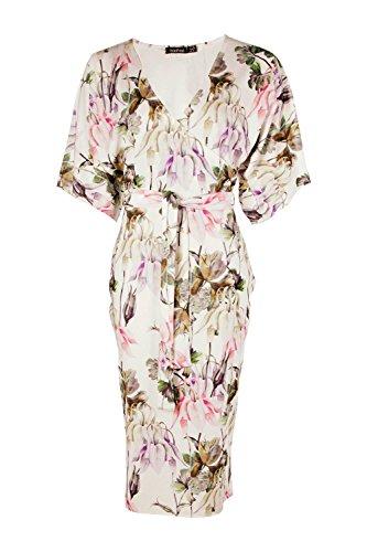 Damen Multi Danielle Midikleid Mit Blumen-print, Kimonoärmeln Und Bindung Multi
