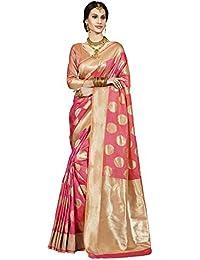 Saree Mall Banarasi Silk Saree With Blouse ( Pink & Gold_sarees Latest Design TLELA107 )