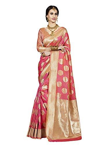 Saree Mall Women's Banarasi Silk Saree With Blouse Piece (Latest Design Tlela107_Pink)