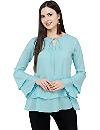 Karmic Vision Women's Crepe Turquoise Casual Top