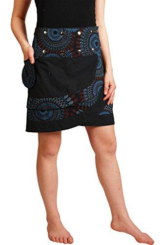 Leucht-Welten süßer Wickelrock aus Baumwolle, Modell Nr. 14, schwarz (Damen Wickelrock)
