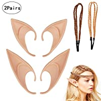 ZoomSky 2 Pairs Fantasy Latex Elf Pixie Fairy Elven Hobbit Ears with 2pcs Hair Braid For Anime Halloween Christmas Party Masquerade Decorations