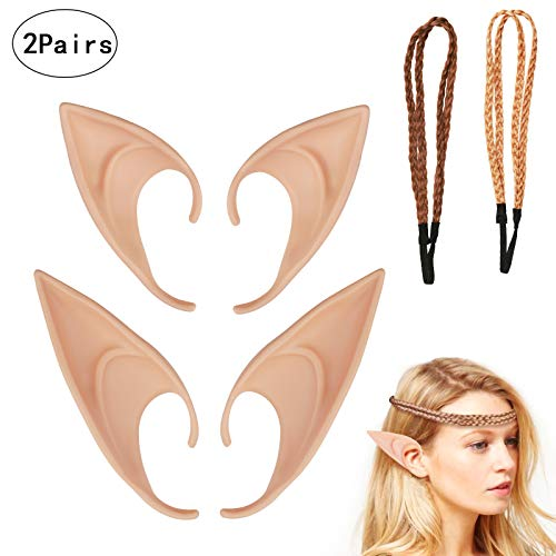 ZoomSky Elfenohren Set, 2 Paar Fantasy Latex Elf -