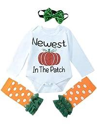 ☀☀Ropa para Bebés Niño,3 Piezas De Halloween Bebé Carta De Impresión Mameluco + Polainas + Diademas Set Conjunto