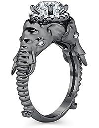 Silvernshine Halo Round Cut Simulated White CZ Diamond 14K Black Gold Plated Elephant Fashion Ring