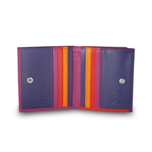 Portafoglio di pelle multicolore porta carte e monete di DUDU Fucsia