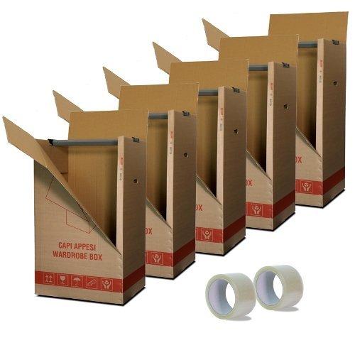 Simba Paper Design Kit 5 Scatole Cartone Porta Abiti Capi Appesi cm. 50x60 H 111 con appendino + 2 Nastri Adesivi Omaggio