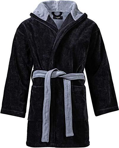 Fendi Bademantel Baumwolle für Herren mit Kapuze, Frottee Sauna-Mantel, Morgenmantel weich und super flauschig, Schwarz M