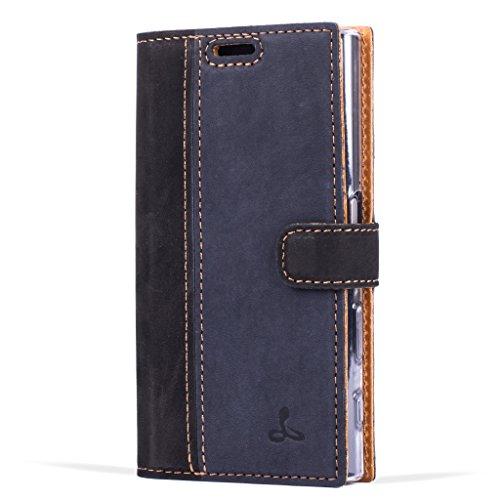 Snakehive® Vintage Collection Sony Xperia X Compact Vintage-Brieftaschen-Etui aus Nubukleder mit Kreditkarten-/ Banknotenfach (Schwarz und Marine Blau)