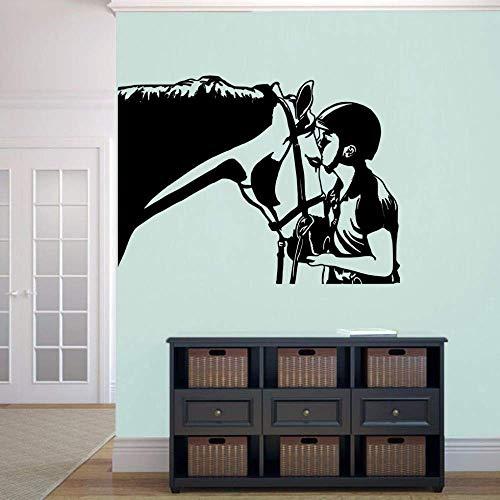 Mariisay Pferd Und Kavalier Wandaufkleber Vinyl Pferdekopf Wandtattoo Home Schlafzimmer Chic Dekor Pferd Tier Wand Fenster Wandbild Schwarz 42X31 Cm Sale Home Täglich Gebrauch Produkt
