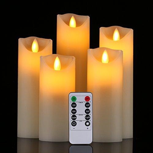 LED Kerzen,Flammenlose Kerzen 180 Stunden Dekorations-Kerzen-Säulen im 5er Set (10,2 cm 12,7 cm 15,2 cm,17.8 cm,20.3 cm). Realistisch flackernde LED-Flammen aus Echtwachs in Elfenbeinfarbe. 10-Tasten Fernbedienung mit 24 Stunden Timer-Funktion (5*1, Ivory) Test