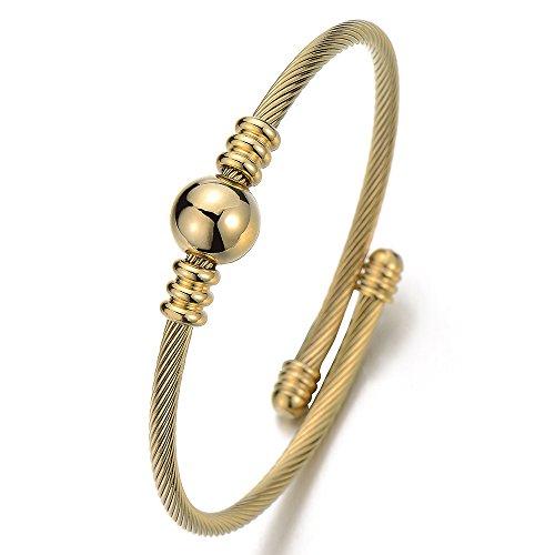 COOLSTEELANDBEYOND Goldfarben Elastische Verstellbare Edelstahl Verdrehten Stahlkabel Armband Armreif für Damen Mädchen