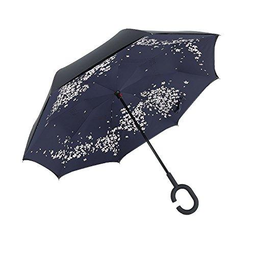 Ombrello a forma di C mani Maniglia Antivento inversione pieghevole a doppio strato invertito ombrello doppio ombrello inversione e Self Standing Inside Out parapioggia ombrello (Cherry blossoms)