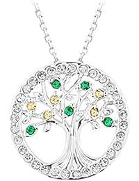 Le Premium ® 'Baum des Lebens' Anhänger Halskette - mit Smaragd / Champagner-Kristallen