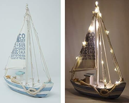 Deko Holz Segelschiff 28 x 21 cm Segelboot mit Beleuchtung 13 LEDs Shabby Segel Boot
