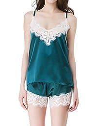 Legendaryman Mujer Verano Costura Pantalones Cortos Sleepwear Conjunto Picardias Shorts y Pijamas de Encaje Sets Ropa