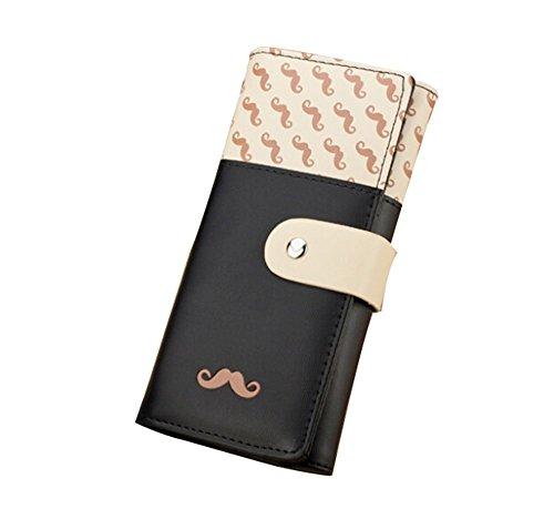 niceEshop(TM) Femme Sac à Main Long Moustache Motif PU Cuir Portefeuille