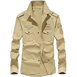Blusa de Hombre by BaZhaHei, Superior de Manga Larga de Hombre de Polo Larga de botón Camisetas de Carga Militar para Hombre de otoño del Manga Larga de Trabajo Casual de algodón de Solapa Hombre