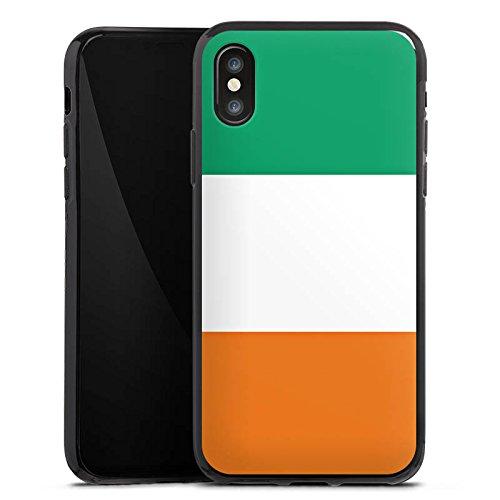 Apple iPhone X Silikon Hülle Case Schutzhülle Elfenbeinküste Flagge Fußball Silikon Case schwarz