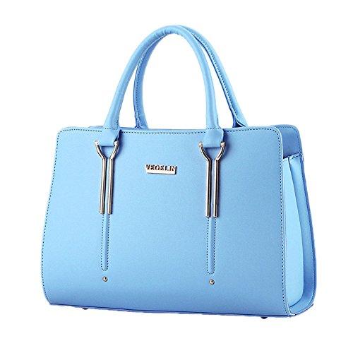DELEY Damen Strukturiert Office Totes Handtasche Schultertasche Handtasche Blau