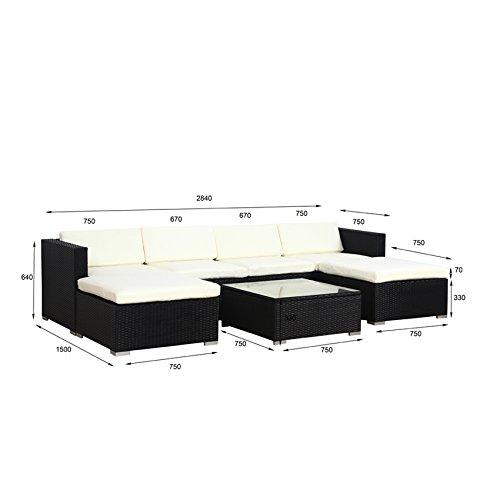 POLY RATTAN Lounge Gartenset Sofa Garnitur Polyrattan Gartenmöbel (XL, Schwarz) - 4